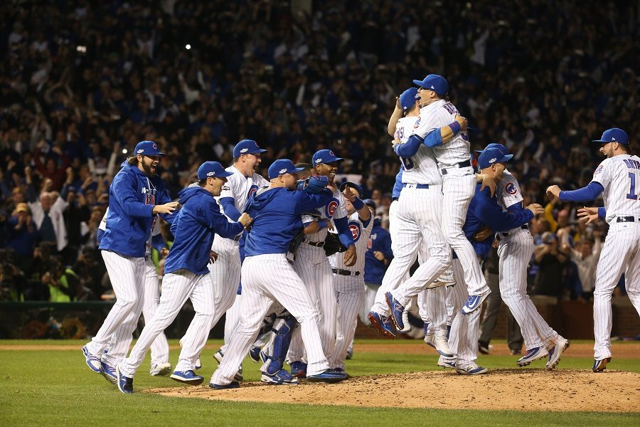 On October 22, Chicago Cubs beat the Brooklyn Dodgers 5-0 in game six of the League Champion Series.  The Cubs won the series 4-2, winning the last two games.  The celebration on the field was after a double play including shortstop Addison Russel, second baseman Ben Zorbist, and first baseman Anthony Rizzo.