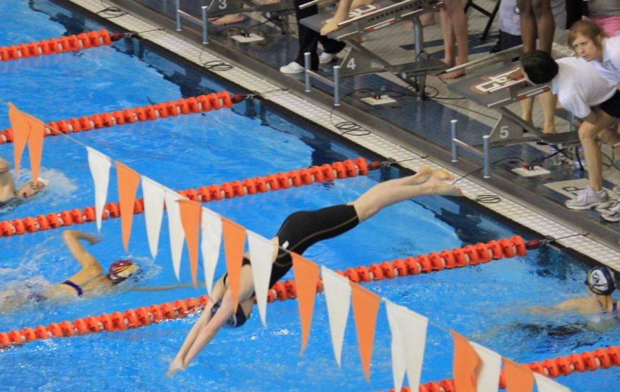 Dive in. Campbell takes off into the pool for her portion of her team's relay race. There are four teammates in a relay and they score based off their combined time. At a swim meet there are four relays per meet: the 200 freestyle, 400 freestyle, 200 medley, and 400 medley.