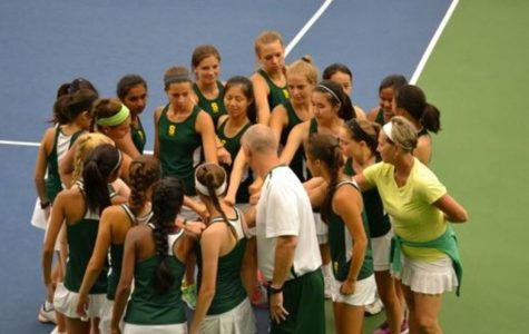 BRING IT IN. The girl's tennis team work together in order to get their jobs done. In tennis cheering each other on and knowing all of the startegies is key because you need to know each other and have a good mental focus during a match. Coach Mike Teets does an amazing job leading the group and bringing them together.