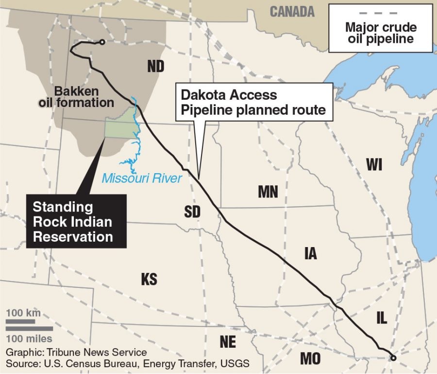 The planned route for the DAPL goes just north of the Sioux reservation. There are loads of other pipelines in the surrounding states, but none of these pipelines are so close to the reservation. Nine protesters were recently arrested for not leaving the territory.