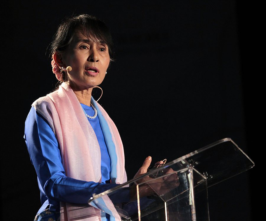 Aung San Suu Kyi speaks on her fight for democracy in San Francisco. Kyi, inspired by Martin Luther King Jr. and Ghandi, has become an international symbol for freedom. She once called for countries across the world to pressure Myanmar into becoming more democratic and continues to improve conditions there.