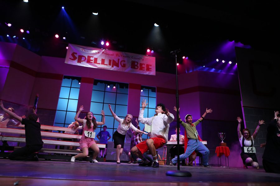 F-A-L-L P-L-A-Y. The 25th Annual Putnam County Spelling Bee, the fall play was a success taking place on November 3rd, 4th, and 5th. Mitch mahoney, played by Michael Underwood (11), Douglas panch played by Mason Taylor (12), and Mona Lisa Peretti played by Elsa Benson (12) preform at their dress rehearsal before the shows.