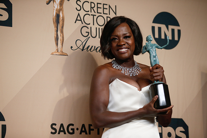 Viola Davis poses backstage the 23rd Annual Screen Actors Guild Awards. Davis won for Outstanding Performance by a Female Actor in a Supporting Role for her role in Fences. The role has also won her a Golden Globe and an Oscar nomination.