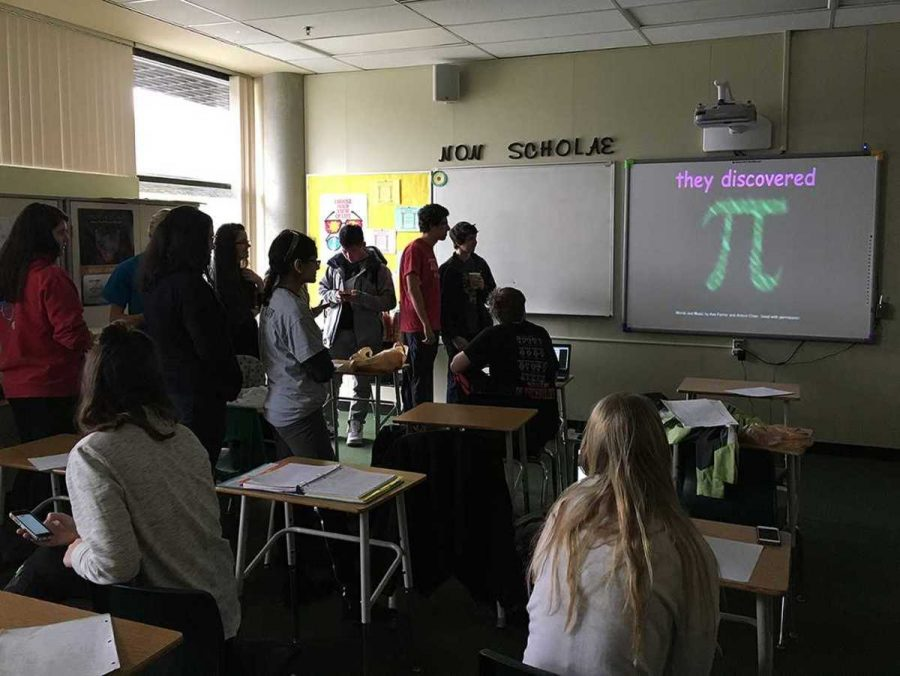 SHS celebrates Pi Day in Mrs. Callie Hoffman's fifth bell class. The event was organized by Sydney Evans, who has been organizing Pi Day parties for her math classes since eighth grade.