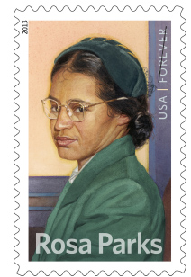 STRENGTH. Forever Stamps featuring Parks were sold in 2013.  Born in 1913, the stamps commemorated Parks' life.  Parks passed away in 2005.