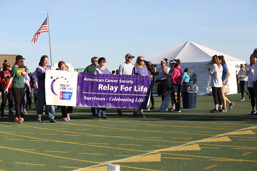 SURVIVOR'S LAP. Cancer Survivor's take a celebratory lap around the track. The Survivor's Lap is the first lap of the relay. After their lap, everyone else piles on to the track and the relay begins.
