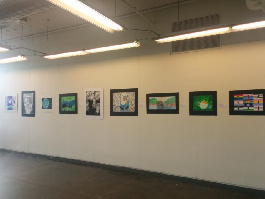 SHOWCASE. SHS students display work in the SOS show at the Art Academy of Cincinnati. A common theme through the art was politics and inclusivity. This exhibition is free and open to the public. Photo courtesy Adhiti Chundur