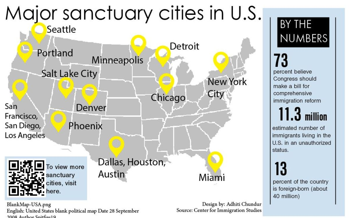 The Leaf Immigration - Map of us sanctuary cities