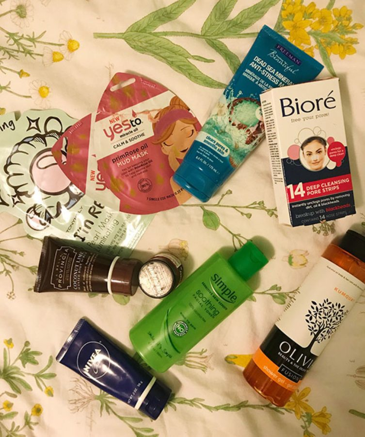 PICK+AND+CHOOSE.+The+numerous+beauty+products+pictured+are+considered+skincare+staples.+Various+products+usually+form+one%E2%80%99s+skincare+routine%2C+which+is+a+mode+of+stress+relief+in+itself.+