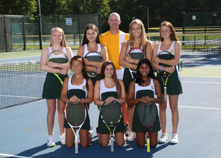 """SERVE. """"We did pretty good, and we advanced to state but lost in the final round. Although we made it through sectionals and districts, we made it to the final four to state!"""" said Abby Pescovits, 11 (middle bottom row)."""