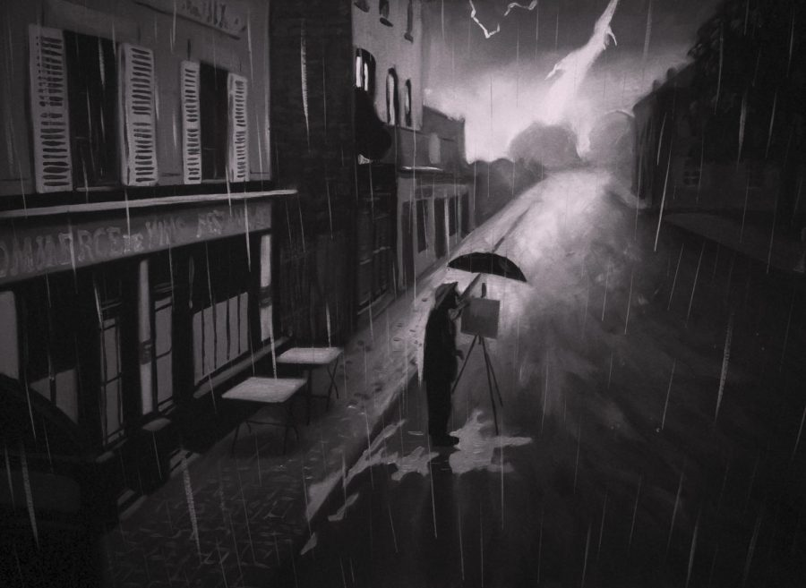 """STROKES OF GENIUS. Van Gogh paints the city of Auvers in the rain. """"Loving Vincent"""" switches between a black and white style of painting seen here and Van Gogh's iconic heavy brushstroke. This broke up the story from the present day narrative to the flashbacks. The whole film was fully hand painted as the creators claim it is the first fully painted feature film. It is currently playing in select theaters around the world."""