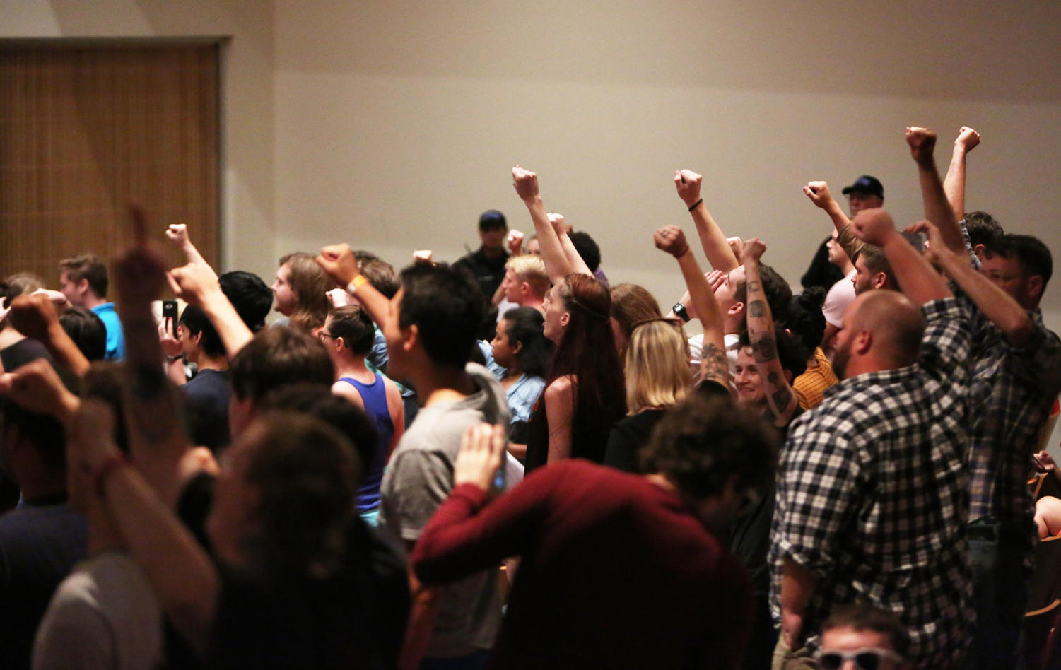 STAND UP. Students at the University of Florida protest against white nationalist Richard Spencer during his speech. His request to speak at public universities across the nation has generated a debate about the relationships between free speech and hate speech. The University of Cincinnati plans to have increased security before, after, and during the event.