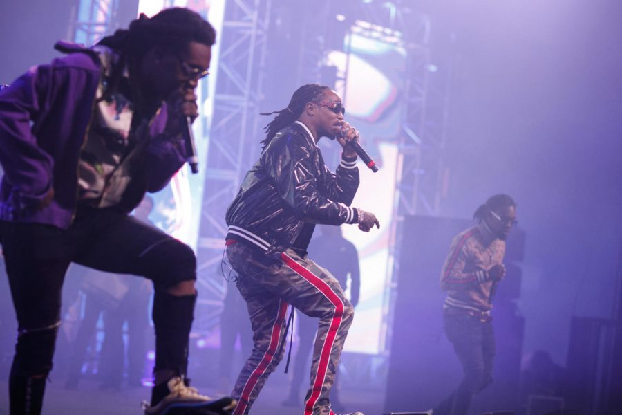 """MOTOR SPORT. Migos preforms live at Rolling Loud music festival. The group is made up of the trio (left to right) Takeoff, Quavo, and Offset. Their single """"Motor Sport"""" is currently sitting in tenth place on the Billboard Hot 100 chart. """"Motor Sport"""" includes two female artists, Nicki Minaj and Cardi B. On Oct. 27, 2017, Offset proposed to Cardi B. on stage in Philadelphia."""