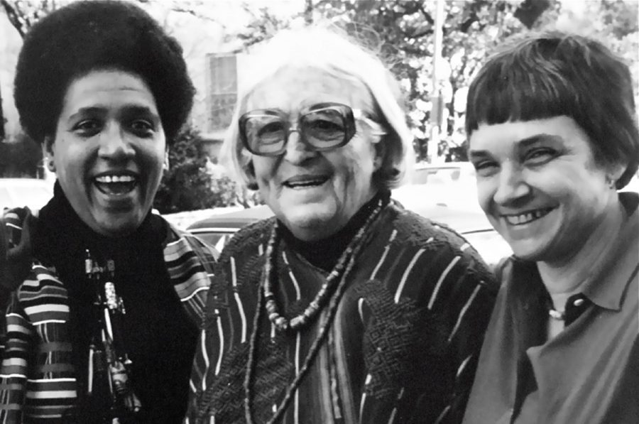 """POWER OF THE PEN. Audre Lorde, left, is pictured with fellow writers Meridel Lesueur and Adrienne Rich at a 1980 writing workshop in Austin, Texas. Lorde began writing poetry when she was 12 or 13 years old. Lorde attended Hunter College and Columbia University, after which she worked as a librarian for several years before publishing """"First Cities."""" She had two children with a man whom she married and later divorced. Lorde described herself as a """"black, lesbian, mother, warrior poet."""""""