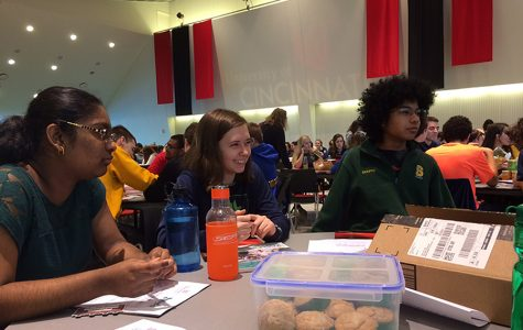 "ANTICIPATION. Sophomores Anupama Narayana, Alice Lundgren, and Deeptangshu Chatterjee prepare for the first section of the TEAMS competition. The competition had three parts; the first was comprised of 80 multiple choice questions that asked primarily math-based questions about engineering scenarios. The sophomore team found themselves frustrated and unsure about many of the problems, and frazzled queries abounded as teammates consulted each other for assistance. ""Why is it a trapezoid? It should be a square! I literally don't ask for much in life,"" said Chee Yin (Daniel) Leong, 10, team member, while attempting to answer one question. All photos courtesy of Anisa Khatana."