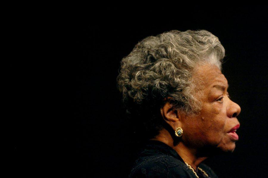 Dr. Maya Angelou speaks with Democratic presidential hopeful Sen. Hillary Rodham Clinton in Wait Chapel at Wake Forest University in Winston-Salem, North Carolina, on Friday, April 18, 2008. (Yalonda M. James/Charlotte Observer/MCT)