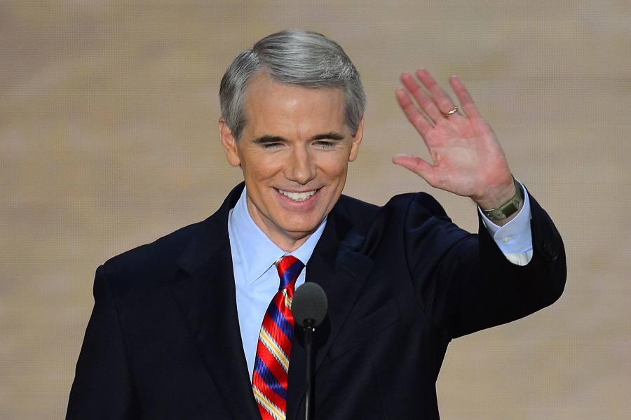 A TAXING JOB. Sen. Rob Portman speaks at the 2012 Republican National Convention in Tampa, Florida. In support of the recently-passed tax reform bill for which he voted, Portman attended President Donald Trump's pro-tax-bill speech at the Sheffer Corporation on Mon., Feb. 5. This was Portman's first appearance with the President, owing to their turbulent history.