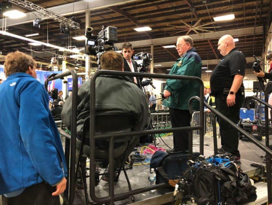 Media preps for president's arrival