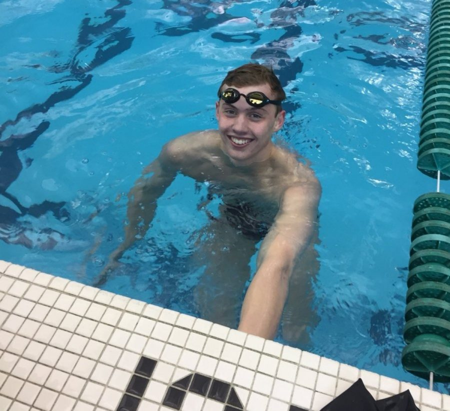 IT'S A POOL RECORD. Sophomore Carson Foster poses for a picture right after one of his record-breaking swims. Foster recently transferred to SHS from St. Xavier High School. On the SHS swim team, Carson has broken pool records at every meet so far.