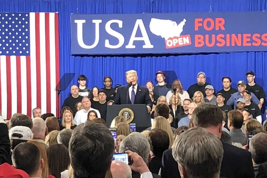 SUPPORT. President Donald Trump talks to his supporters at the Sheffer Corporation on Feb. 5. During his speech, Trump expressed his support for Ohio Republican Representative Jim Renacci, who is currently running for Democratic incumbent Senator Sherrod Brown. However, Trump did not officially endorse Renacci.