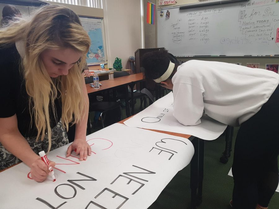 FIGHT. Juniors Allison Landrum and Karissa Grandin create posters for the school walkout. A group of seniors organized the school-wide walkout to protest the gun violence in the United States. It took place on March 14 and featured student and staff speakers.