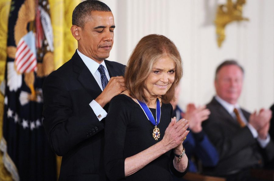 U.S. President Barack Obama awards the Presidential Medal of Freedom to women's rights activist Gloria Steinem in the East Room at the White House on Nov. 20, 2013 in Washington, D.C. (Olivier Douliery/Abaca Press/MCT)
