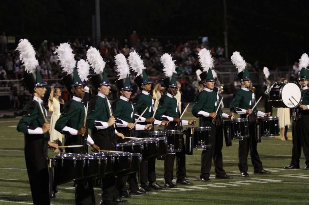 EXCITEMENT. The marching band starts to prepare for the upcoming season. On Tues., Apr. 3, the group held an open house where they introduced the show's theme as well as gave students a chance to meet other students. The ensemble is working towards having more people sign up this year than last time, allowing for new opportunities.