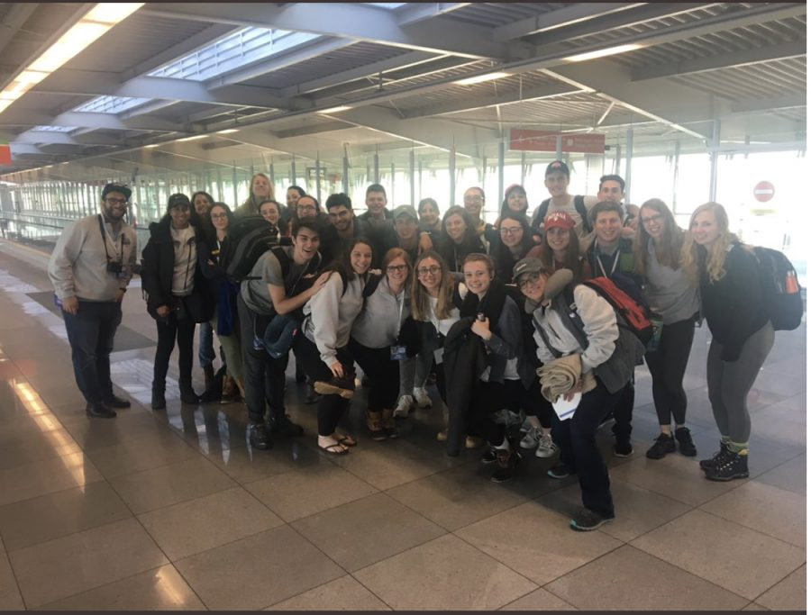 POSE.+The+2018+group+of+students+participating+in+March+of+the+Living+visit+Warsaw%2C+Poland.+They+toured+concentration+camps+before+traveling+to+Israel.+There+they+will+celebrate+the+seventh+year+of+Israel%E2%80%99s+independence.