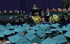 Seniors walk towards graduation