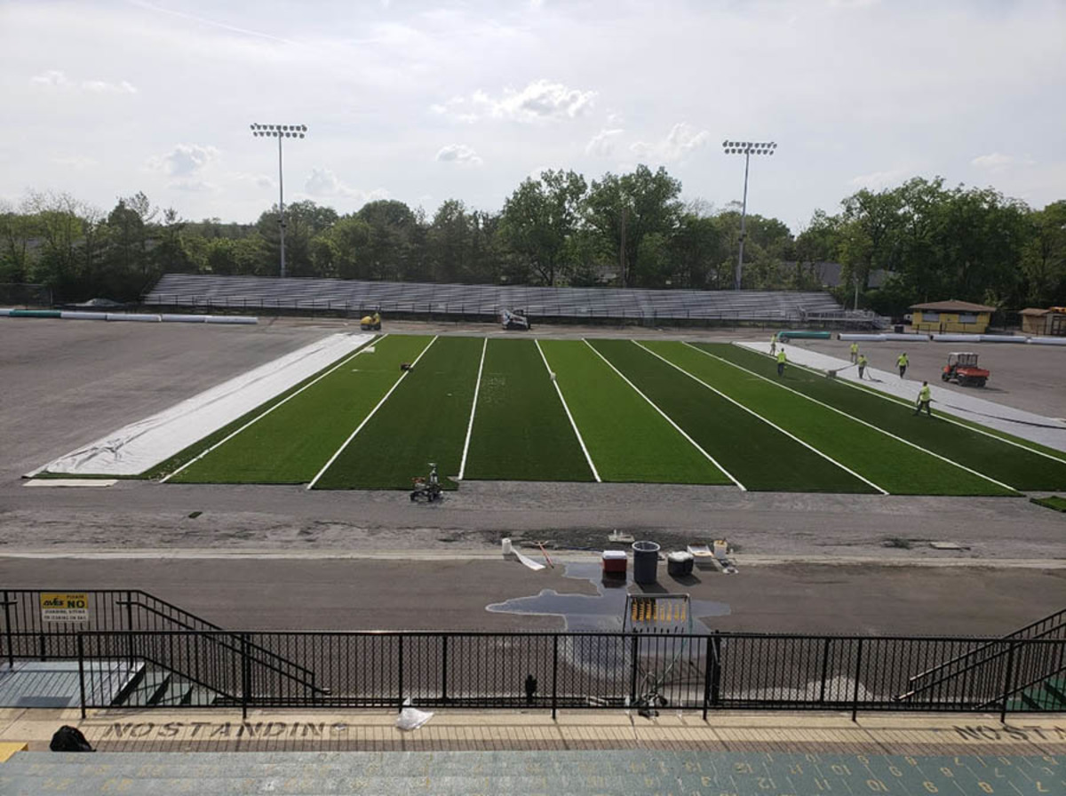 IMPROVEMENTS. The Sycamore Junior High track and field project has started construction and will continue throughout the summer. The turf field is due for replacement, as it lasted 12 years. Fall sports teams should be able to begin practices as scheduled.