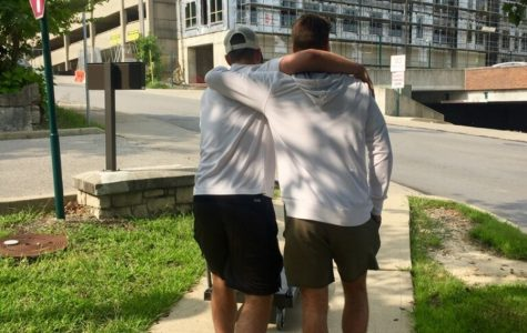 BROTHERLY LOVE. Twins and recent SHS graduates Alex and Grayson Thornberry take a walk on the campus of the University of Cincinnati, where Grayson Thornberry had just moved into a dorm room for his freshman year. Though both brothers will be heading to college this year, they will be separated by hundreds of miles and leave behind two dogs and two parents.