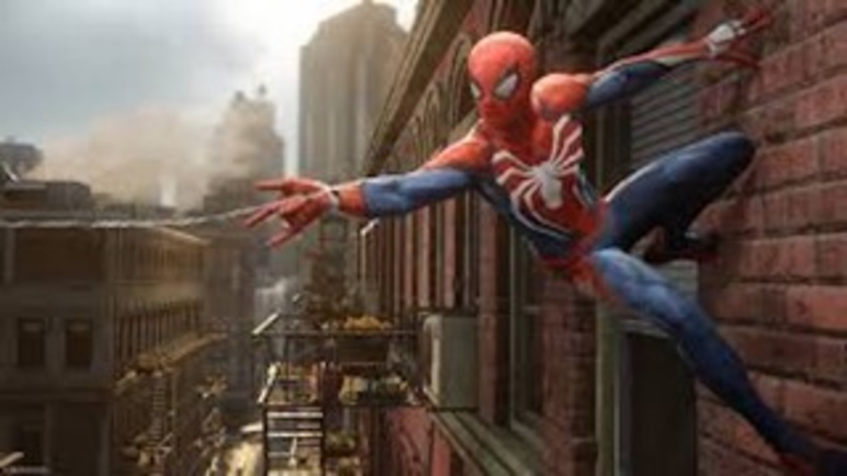 "SPIDER-MAN. This was the first look of the Spider-man Ps4, released at E3 in 2016. The white spider logo was a new design choice made by Insomniac Games. ""We are making this game with a lot of heart and we are going to do whatever it takes to give people the ultimate Spider-Man experience,"" said Bryan Intihar, creative director of Spider-man Ps4."