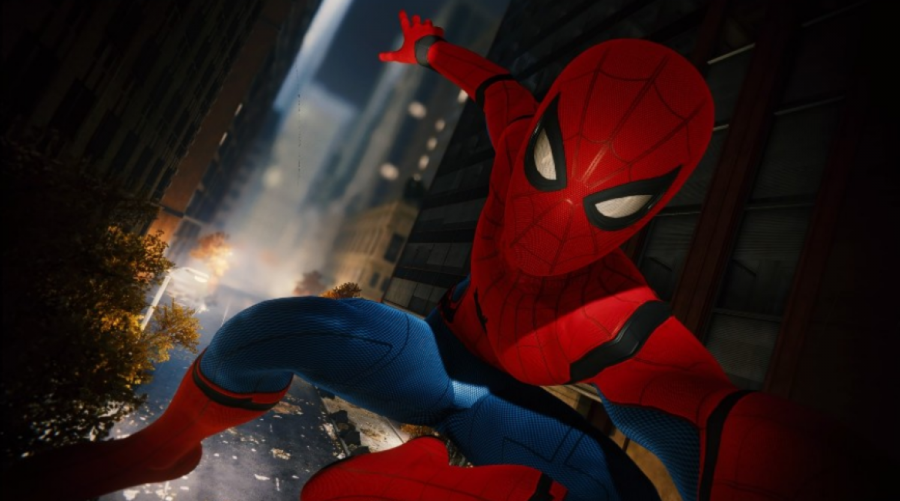 """SWINGING ABOUT TOWN.  Spider-Man snaps a selfie during his daily web-swinging antics.  This was created through the game's photo mode, which can be used to take amazing screenshots on the Playstation 4. The mode has a variety of features like borders and stickers, and it seems that both fans and critics, including IGN's Jonathon Dornbush, are having a lot of fun with the feature.  """"Insomniac Games has taken the mode to a delightful new level,"""" Dornbush said."""