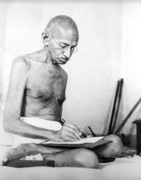 THE NONVIOLENT MAN. Mohandas Karamchand Gandhi, a portrait of the man known for 'ahimsa'.  He always has his birthday celebrated in India, even after many years.