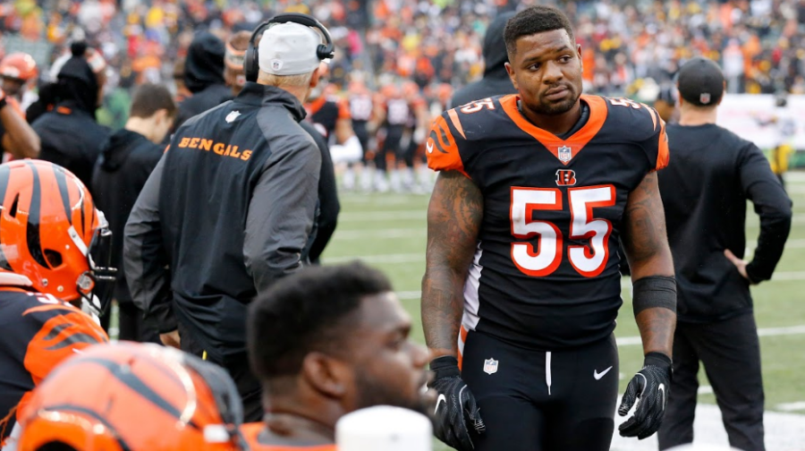 "BAM. Cincinnati Bengals Linebacker Vontaze Burfict looks at a dejected bench following a crushing defeat to bitter arch rival Pittsburgh Steelers. Banged up Bengals cannot linger on the loss to long with having to face the American Football Conference's (AFC'S) best team, the Chiefs. Coach Marvin Lewis says, ""We'll be fine. We'll be ready to go."