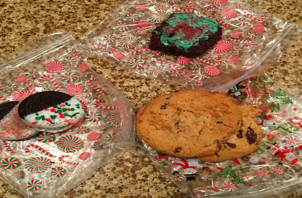 """SELL. These are an assortment of sweet treats from Sophia Odaka and Ellie Torem's """"holiday gram"""" sale. Odaka and Torem had a bake sale for their project-based learning in the Synnovation Lab. The proceeds of their sale will be used to make welcome baskets for hospitalized children and their families who are staying at the Ronald McDonald House. """"I had a lot of fun doing the bake sale,"""" Torem said."""