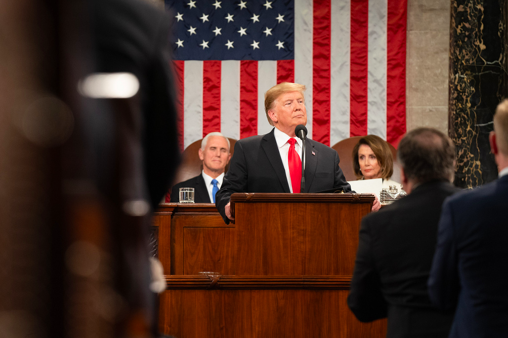 "MADE IN THE U.S.A. President Donald Trump delivers the 2019 State of the Union address with Vice President Mike Pence and House Speaker Nancy Pelosi behind him. Throughout his speech, Trump often emphasized aspects of the current State of the Union that he claims are the best they have ever been. ""There's been nothing like this,"" Trump said while discussing the economic boom that has coincided with the first two years of his presidency."