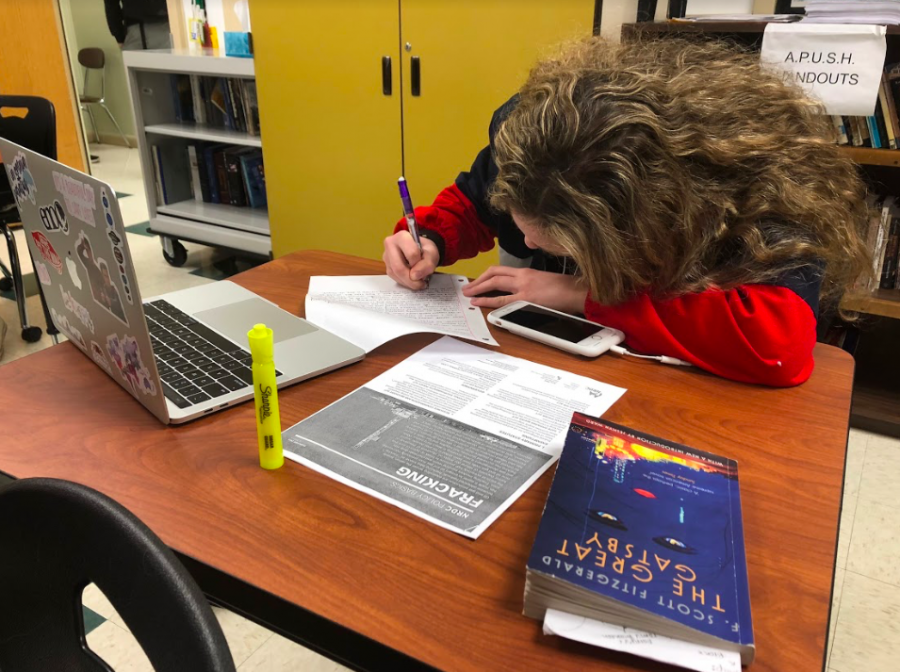 WRITE ON. Sophomore Current World Issues (CWI) student Kyra McHugh works on her letter to Ohio Senators Rob Portman and Sherrod Brown. CWI teacher Mrs. Valerie Nimeskern recommended that students write at least two paragraphs in their letters, but some ventured so far as to write five.