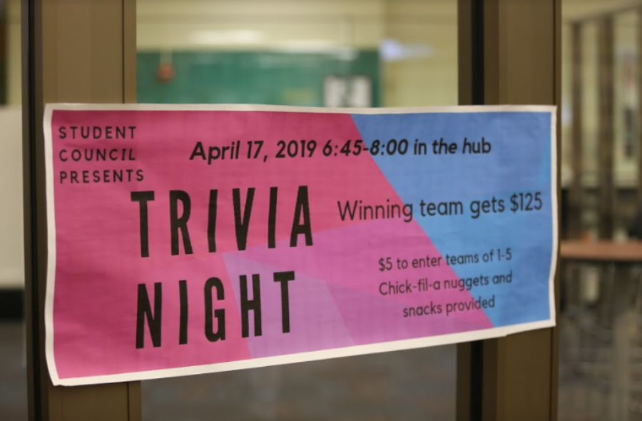 TRIVIA+TIME.+On+April+17%2C+SHS+students+gathered+in+the+Hub+for+a+fun+night+of+trivia+with+their+friends.+Chick-fil-a+nuggets+and+snacks+were+provided.+