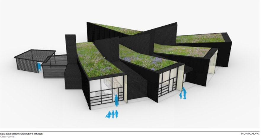 INNOVATION. The school in Romania is modeled here digitally, surrounded by a natural landscape. The modern style matches their initiatives in the classroom as well.