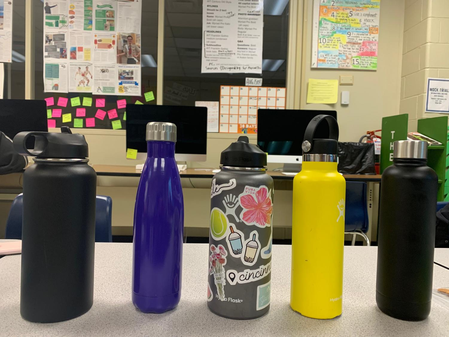SEA OF METAL. Hydroflasks are a staple among students in most classes. They vary in color and shape, allowing the user to buy one that matches their aesthetic. The abundance of these water bottles is only one common trend observed today in the sustainability movement.