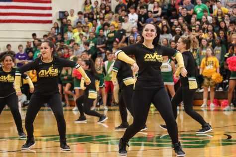"PEP RALLY. The Flyerettes started out with a small team of 6. After practicing for weeks, the Flyerettes first performance was at the prep rally—they danced to the song ""Hip Swing."""